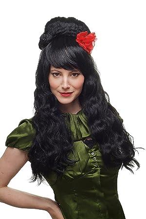 Carnaval, peluca, España, estilo Señorita años 60, negro, largo Beehive 81193