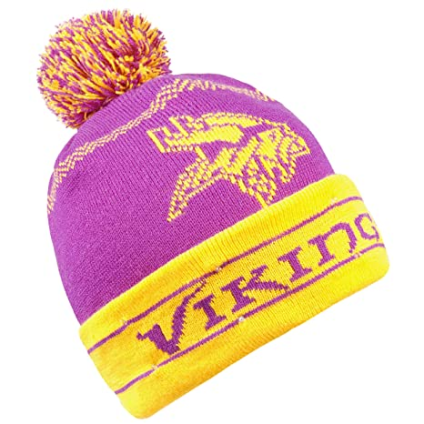 12261c2a Forever Collectibles NFL Minnesota Vikings LED Pom Pom Knit Hat, Purple,  One Size