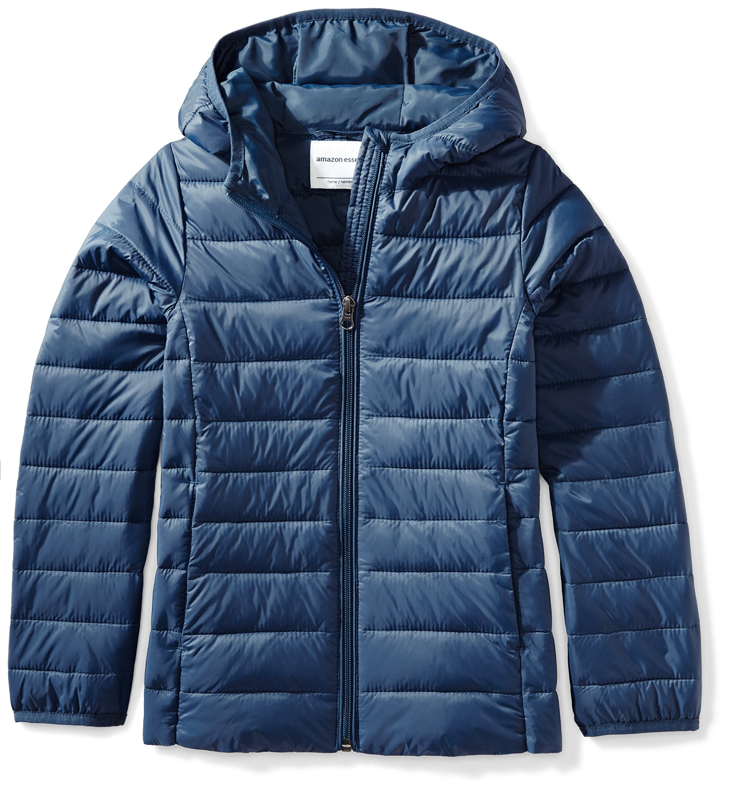 Amazon Essentials Girls' Lightweight Water-Resistant Packable Hooded Puffer Jacket, Navy, Large