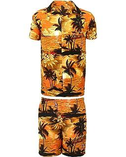 1cef784d0d08 SAITARK Mens Hawaiian Shirt STAG Beach Hawaii Aloha Party Summer Holiday  Fancy Palm Shirt and Short