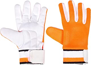 Anand Sports - Guantes Interiores de críquet para bateo en Color Blanco y Naranja – Guantes de algodón Acolchados, Esponja Jali, HAnand Sports Toalla muñeca, tamaño estándar