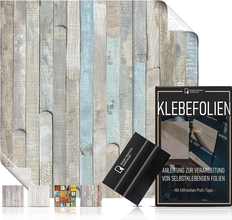 abwaschbar /& hitzebest/ändig I M/öbelfolie Shabby Holzdekor 16,61/€//m/² Rakel /& eBook mit Profitipps I Klebefolie Holz f/ür M/öbel /& K/üche Selbstklebende Folie in Holz-Optik vintage bunt I inkl