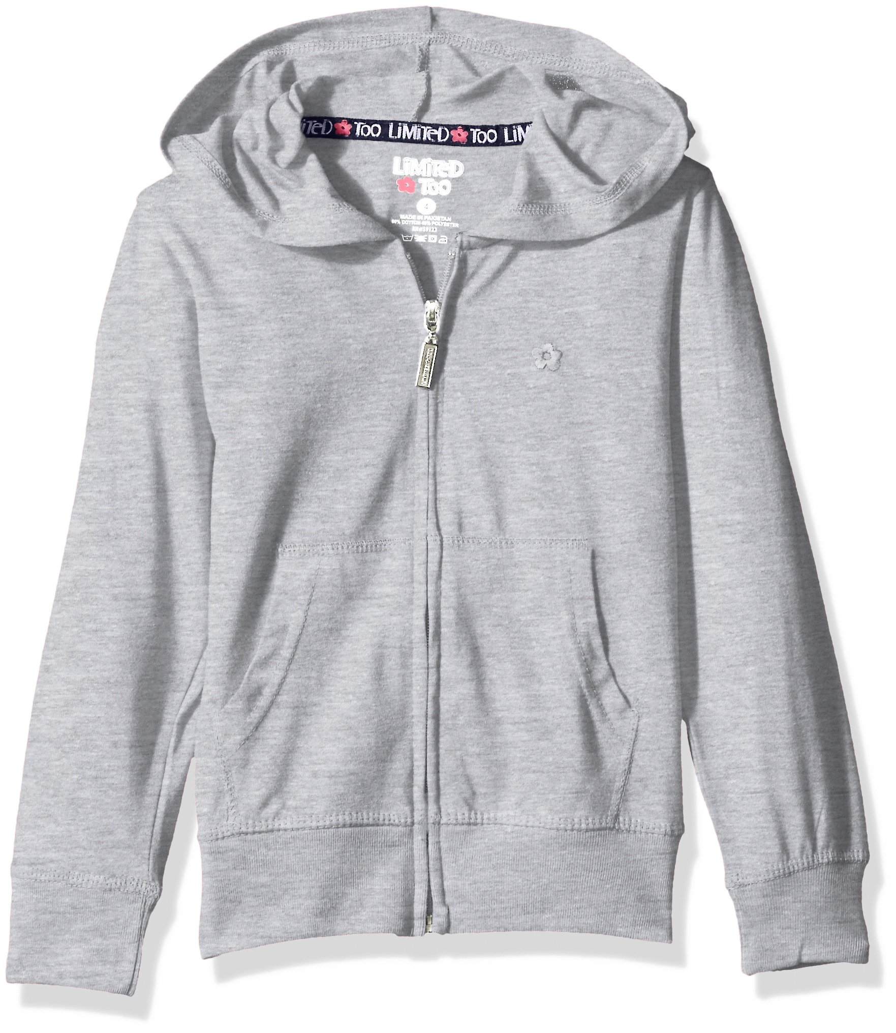 Limited Too Girls' Long Sleeve Zip Front Jersey Hoodie,Heather Grey,4