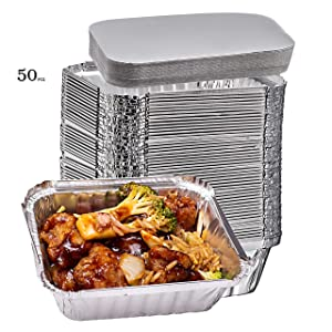 Elite Selection 1lb Aluminum Foil Pans – Reusable and Disposable Foil Pans – Stackable Foil Pans with Board Lids – Oven & Freezer Safe – 50 Piece Set (1LB Board Lids)