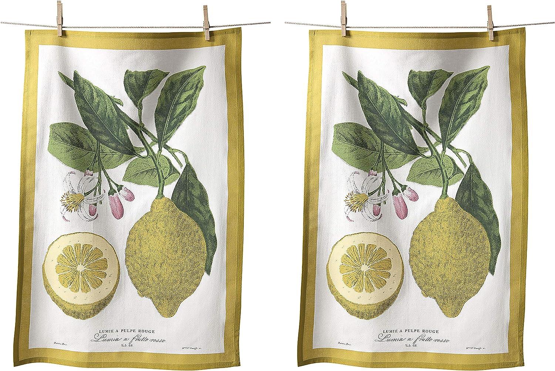 KAF Home Flour Sack Kitchen Dish Tea Towel, Set of 2, 100-Percent Cotton, 20 x 30-Inch (Lemons)