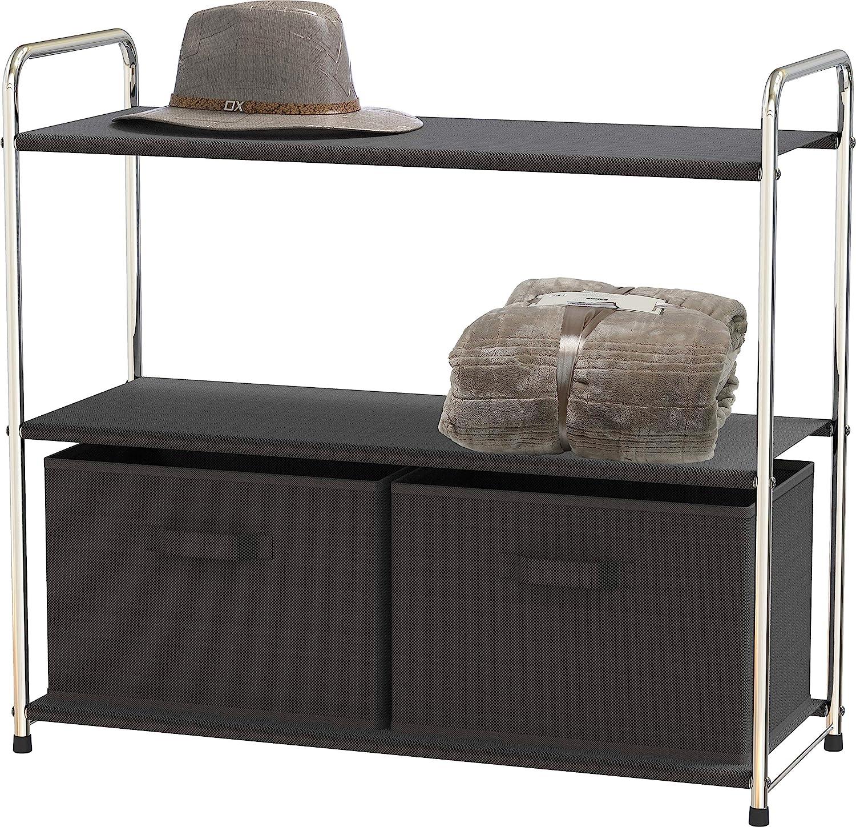 Simple Houseware 3-Tier Closet Storage with 2 Drawers, Dark Grey