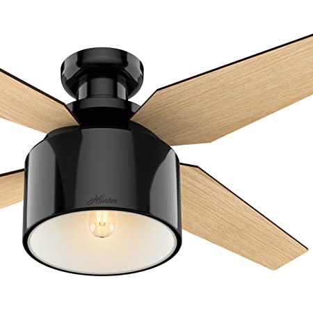 Hunter 52 in. Contemporary Ceiling Fan in Gloss Black with Dimmable LED Light Kit and Remote Control Renewed