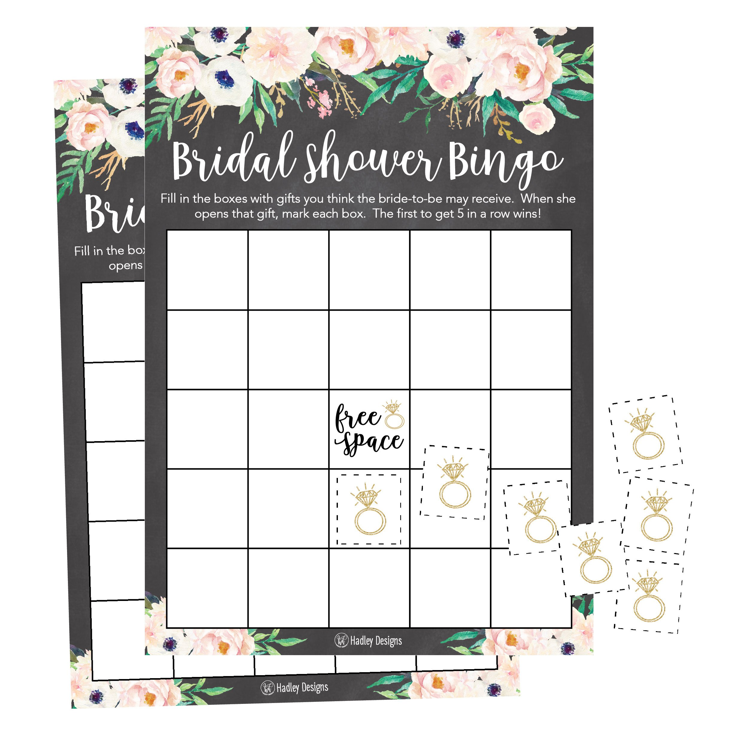 25 Rustic Vintage Pink Flower Bingo Game Cards For Bridal Wedding Shower and Bachelorette Party, Bulk Blank Squares Gift Ideas, Funny Supplies Bride and Couple PLUS 25 Wedding Ring Bingo Chip Markers by Hadley Designs