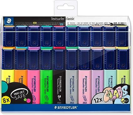 STAEDTLER 364 WP20. Rotuladores fluorescentes Textsurfer. Estuche con 20 marcadores de colores variados: Amazon.es: Oficina y papelería