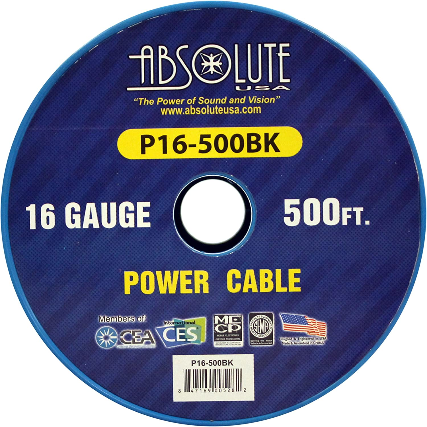 Absolute USA P16-500YE 16 Gauge 500-Feet Spool Primary Power Wire Cable Yellow
