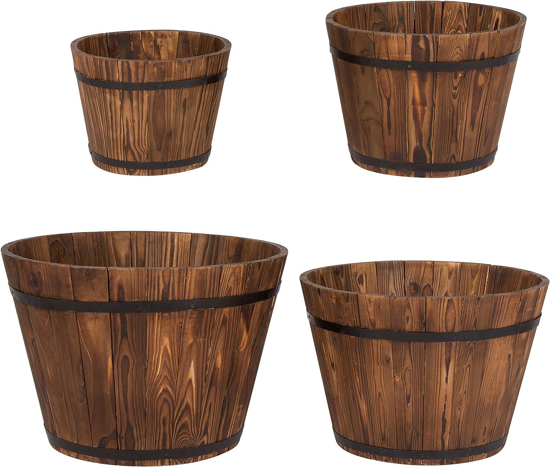 Shine Company Inc. 5000BT Round Cedar Barrel Set, Tall, Burnt Brown