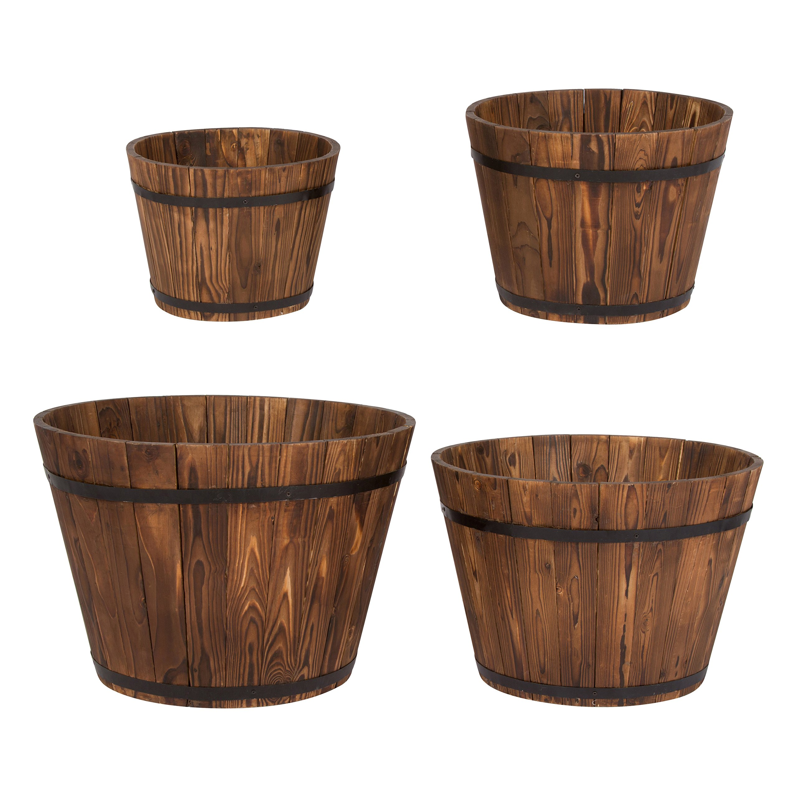 Shine Company Round Tall Cedar Barrel Set of 4, Burnt Brown by Shine Company Inc.