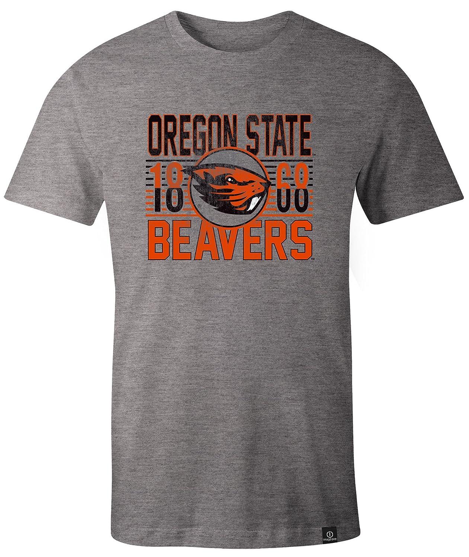 NCAA Oregon State Beavers Adult NCAA Retro Stacked Image One Everyday Short sleeve T-Shirt Medium,HeatherGrey