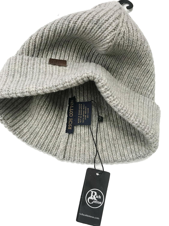 Rich Cotton Wool Beanie Hat 100/% Merino Wool Men Women 7 Colors Hat