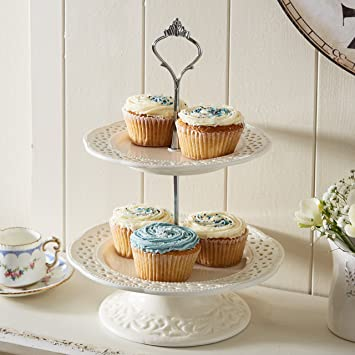 Ceramic Lace Tier Cake Stand Amazon Co Uk Kitchen Home