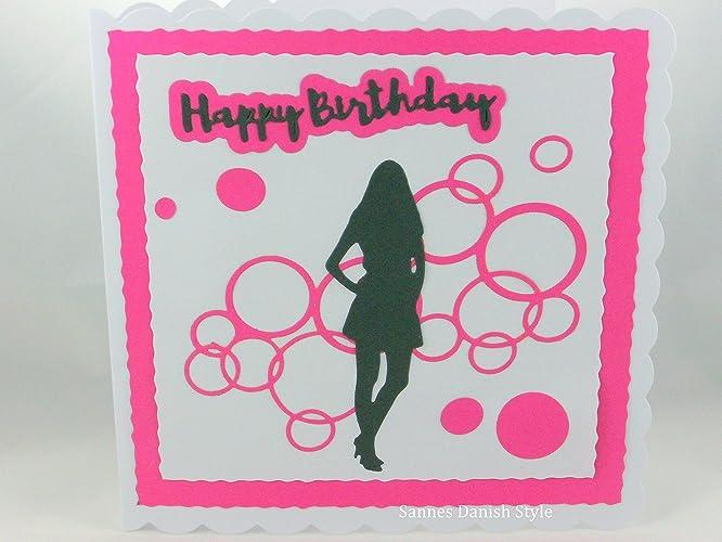 Happy Birthday Karte Für Frauen.Happy Birthday Karte Mit Junge Frau Und Pinke Luftblasen Ca 15 X