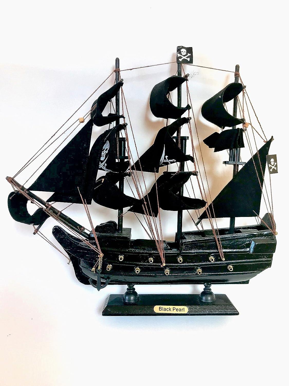 NAUTICALMANIA Maqueta Barco Pirata Artesanal Inspirada en Black Pearl o Perla Negra 33x31x7cm