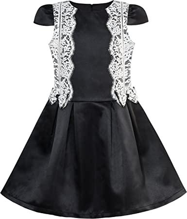Vestido para niña Negro Blanco Contraste de Color Encaje Corbata ...