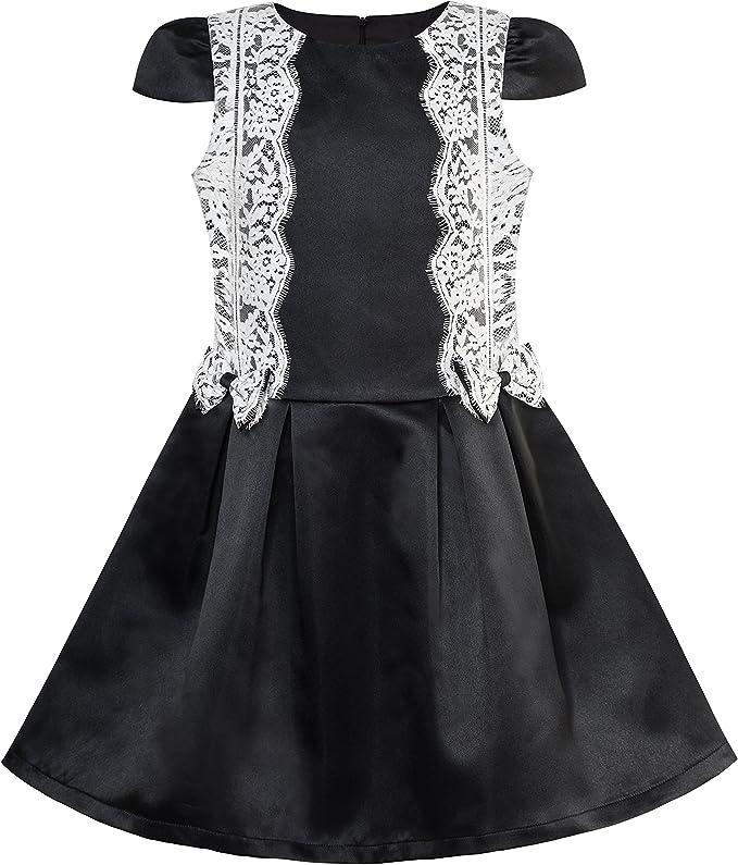 Sunny Fashion Vestido para niña Negro Blanco Contraste de Color ...