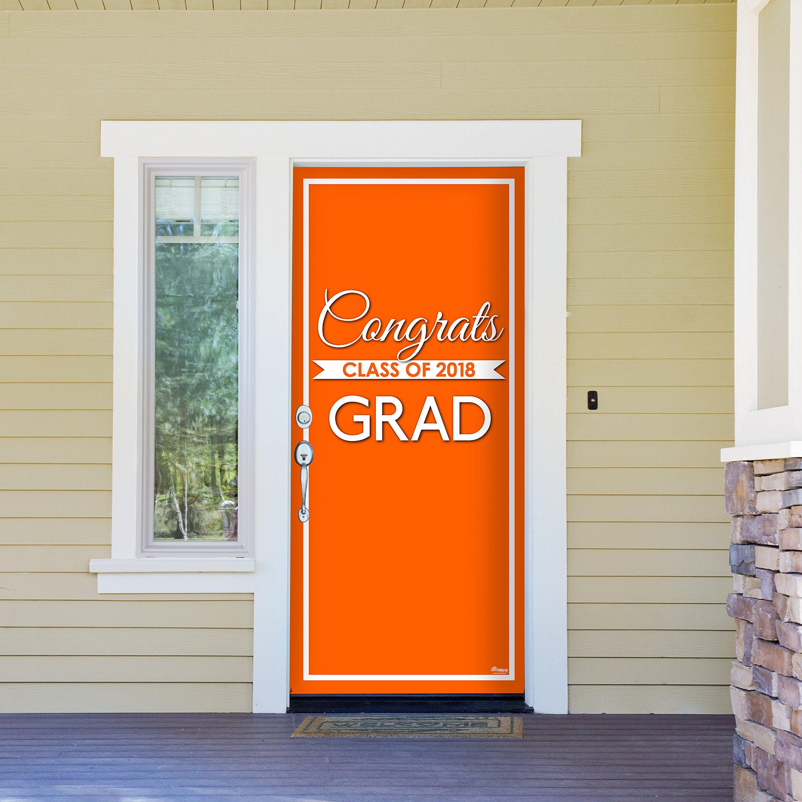 Victory Corps Class Banner Orange - Outdoor GRADUATION Garage Door Banner Mural Sign Décor 36'' x 80'' One Size Fits All Front Door Car Garage -The Original Holiday Front Door Banner Decor