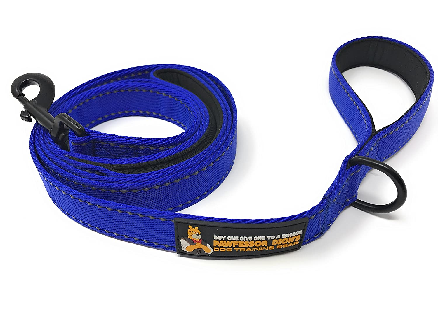 Pawfessor Dion's 6ft Reflective Double Handle Traffic Dog Leash - Buy One and We Donate One to a Dog Rescue (Black)