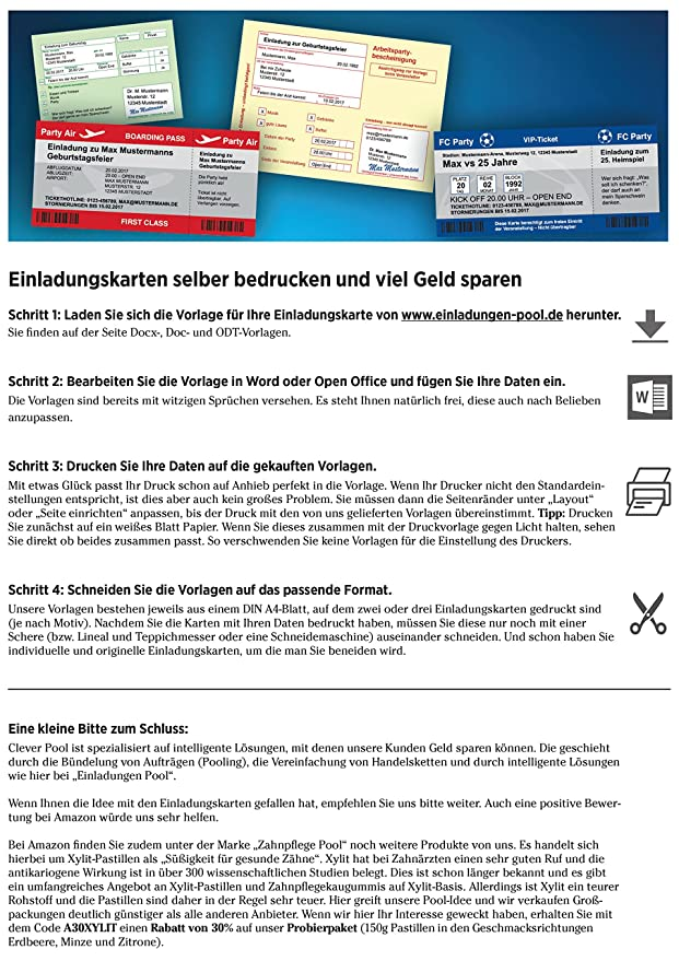 100/150 Einladungskarten Geburtstag | Diverse Motive | Zum Selber Bedrucken  | Professionelle Vorlagen | Originell, Witzig, Individuell (100 Motiv ...