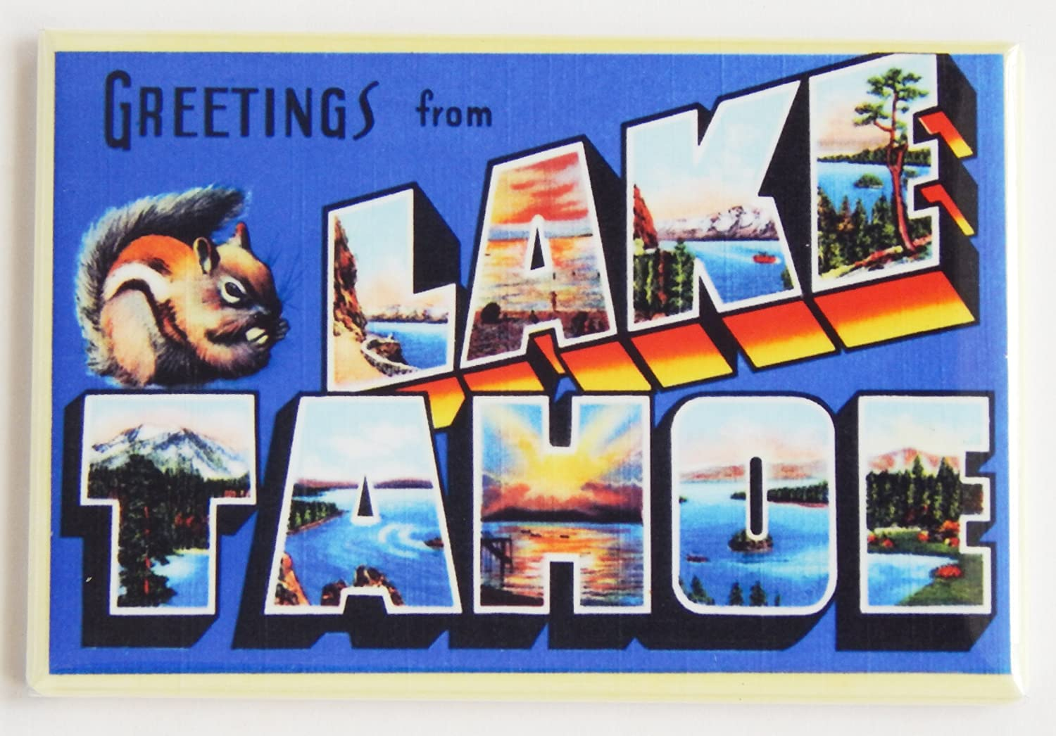 Greetings From Lake Tahoe Fridge Magnet (2 x 3 inches)