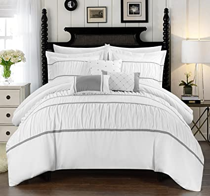 Amazon Chic Home Cheryl 40 Piece Comforter Set Complete Bed In New White Bedding With Decorative Pillows