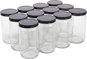 North Mountain Supply 32 Ounce Glass Quart Straight Sided Wide Mouth Canning Jars - With Black Metal Lids - Case of 12
