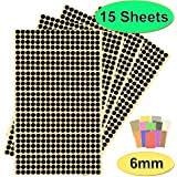 BEST-SELLING Pack of 7140 x 6mm Round Coloured Easy Peel Self Adhesive Dot Stickers for Colour Coding Calendars, DVDs, School Books – Choice of 12 Colours - 15 SHEETS of High Quality Sticky Dots (Black)