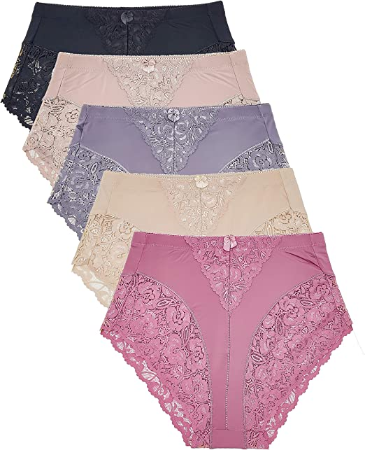 3 x Assorted Colors Ladies Underwear High Leg Briefs with Lace Top Size 12