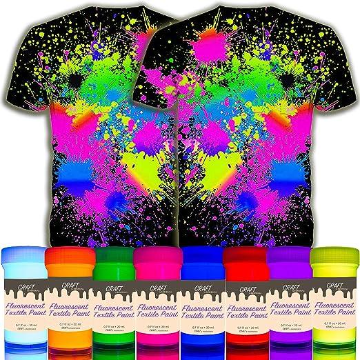 individuall Craft Textile & Fabric UV Paint - Juego de 8 pinturas de tela neón negro claro – Colores fluorescentes para ropa – Pinturas brillantes ...