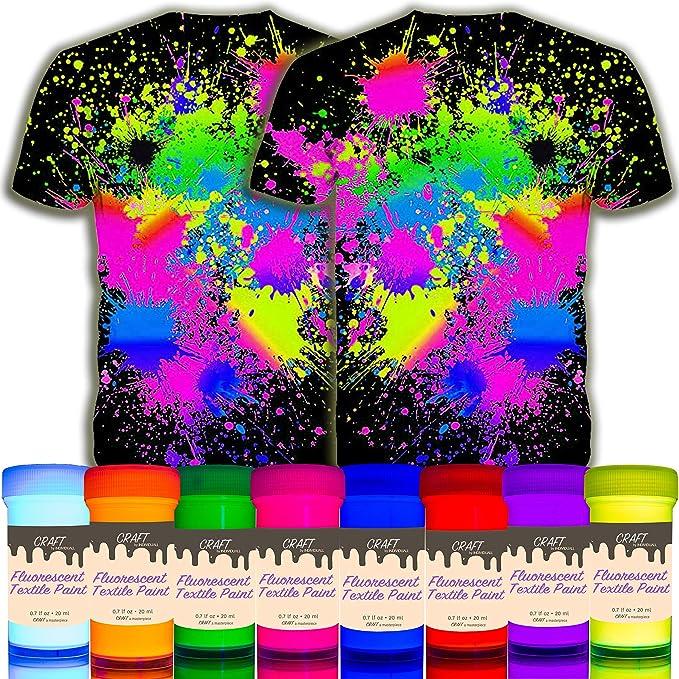 individuall Craft Textiles & Fabric - Juego de 8 pinturas UV para tela (colores fluorescentes, 8 x 20 ml)