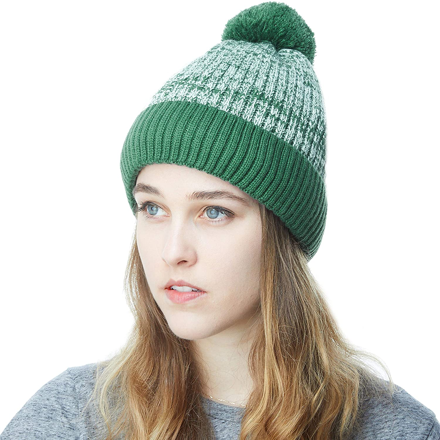 Dark Green With Pom THE HAT DEPOT Exclusive Ribbed Knit Beanie Warm Fuzzy Thick Fleece Lined Hat Winter Skull Cap Extra Warmth