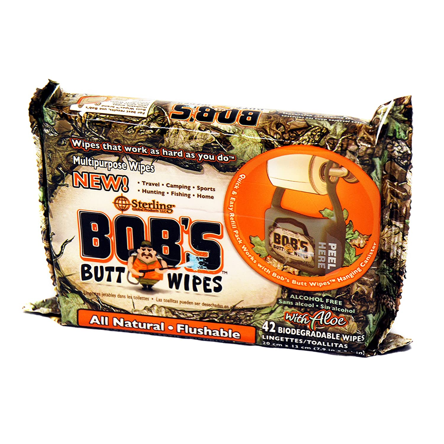 Amazon.com: Bobs Butt Wipes Hanging Dispenser & 4 Packs of 42ct. Flushable Wipes, Unscented Biodegradable Personal Hygiene Wipes: Health & Personal Care