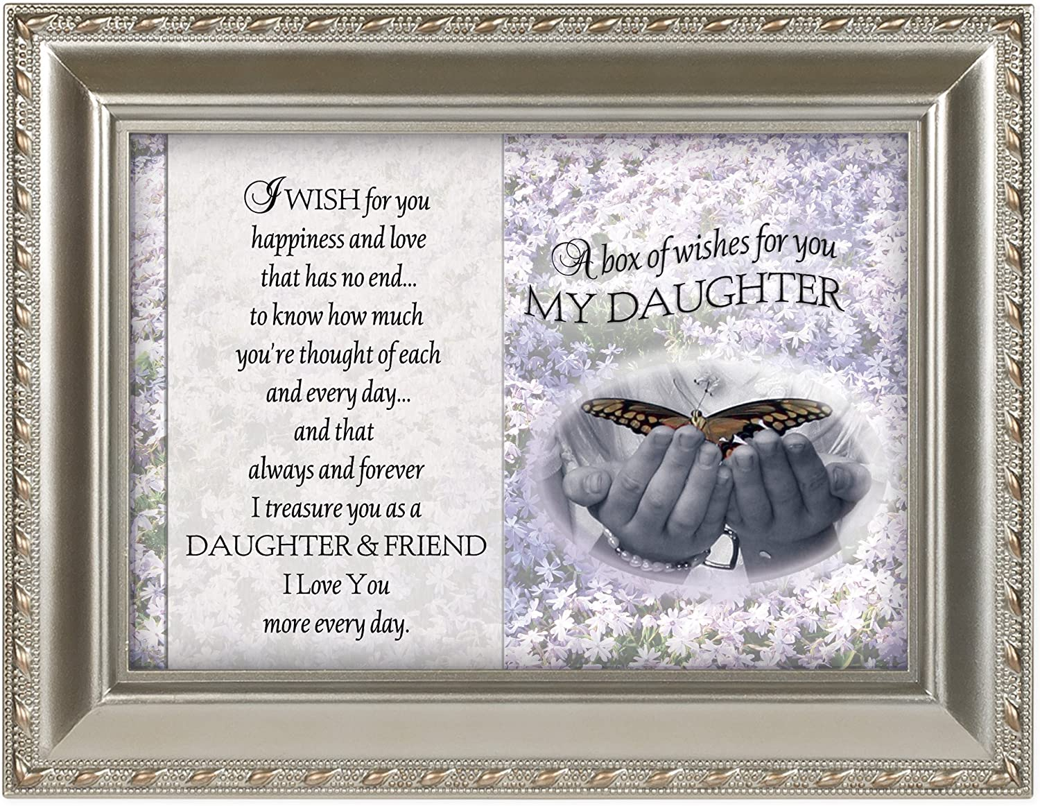 Cottage Garden Box of Wishes for You My Daughter Silvertone Rope Trim Easel Back Photo Frame