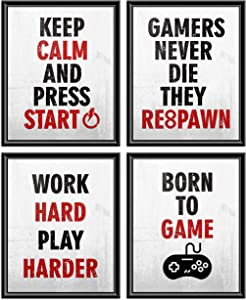 Funny Game Art Print Gaming Wall Art Posters Set of 4 Canvas Black&White Bedroom Pictures Prints Home Decor Inspirational Words Backdrop for Teen Rooms College Boys Girls No Frame 8'' x 10''