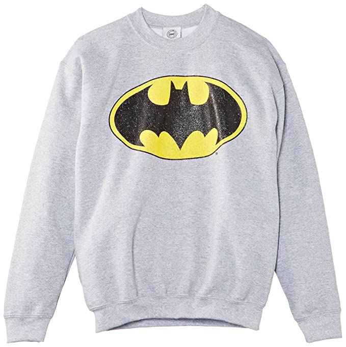 DC Comics Batman Gloss Logo, Sudadera con Capucha, Niños, Gris (Heather Grey