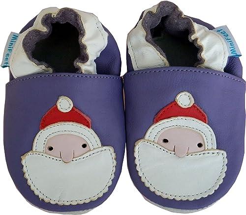 MiniFeet Soft Leather Baby Shoes, Santa
