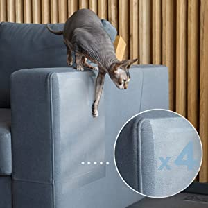 PROTECTO Cat Proof Couch Protector & Scratching Furniture Guard w/Leather Safe Design & Grip-Tight Adhesive - Effective Sofa Leg & Corner Scratch Deterrent & Repellant