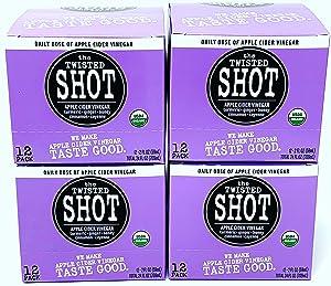 The Twisted Shot | Organic Apple Cider Vinegar Shots with Turmeric, Ginger, Cinnamon, Honey & Cayenne | Immunity Boost | Wellness | Digestive Aid | Improve Metabolism | Detox | 48-Pack of 2oz Shots