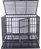 Heavy Duty Dog Crate, Haige Pet Metal Strong Dog Kennel Cage with Wheels and Tray