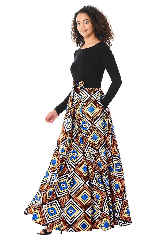 affb00de006 eShakti Women s Tie Front Diamond Print Mixed Media Maxi Dress at Amazon  Women s Clothing store