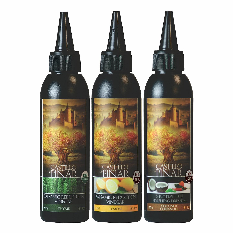 Castillo de Pinar 3-Pack Bundle - Thyme Balsamic Reduced Vinegar (150ml), Lemon Reduced Vinegar (150ml) and Coconut & Coriander Spicy Peri-Peri (150ml) USDA Certified Organic Non GMO