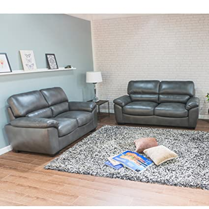 Arcadia Gris sofá de piel sofá o sofás 3 + 2 sofá conjunto ...