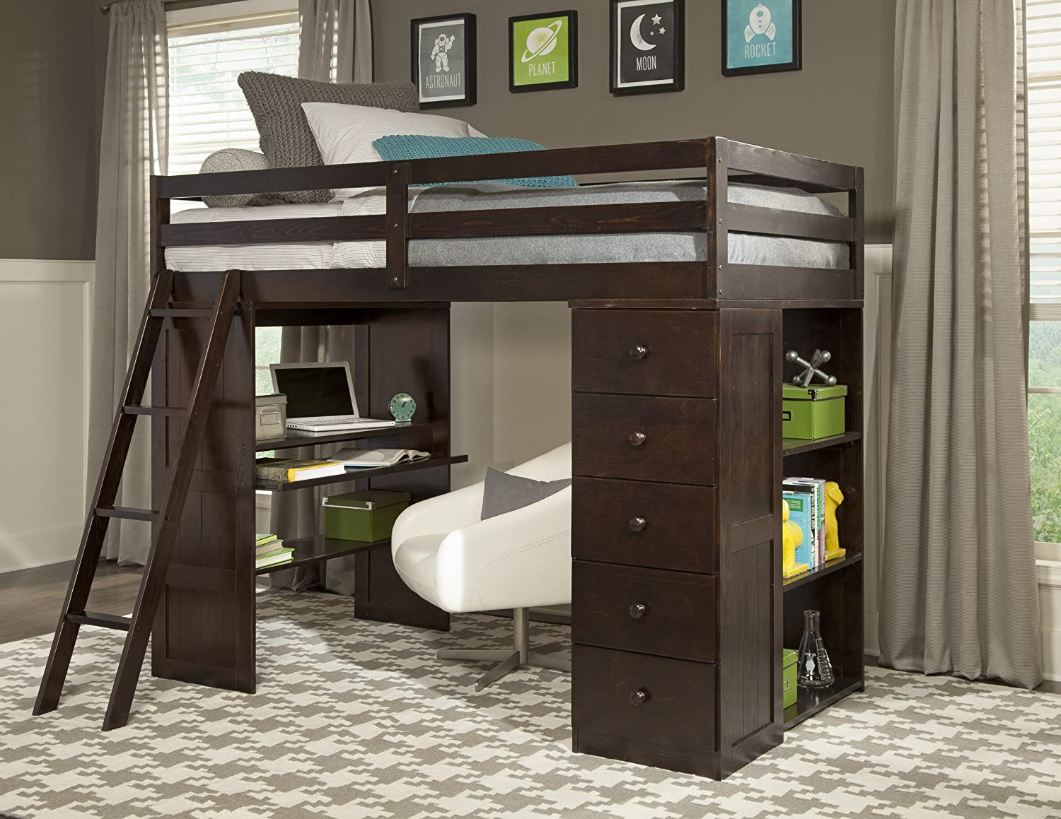 loft underneath desks with teens under combo bed wood for beds artistry perfect office top desk twin them bunk