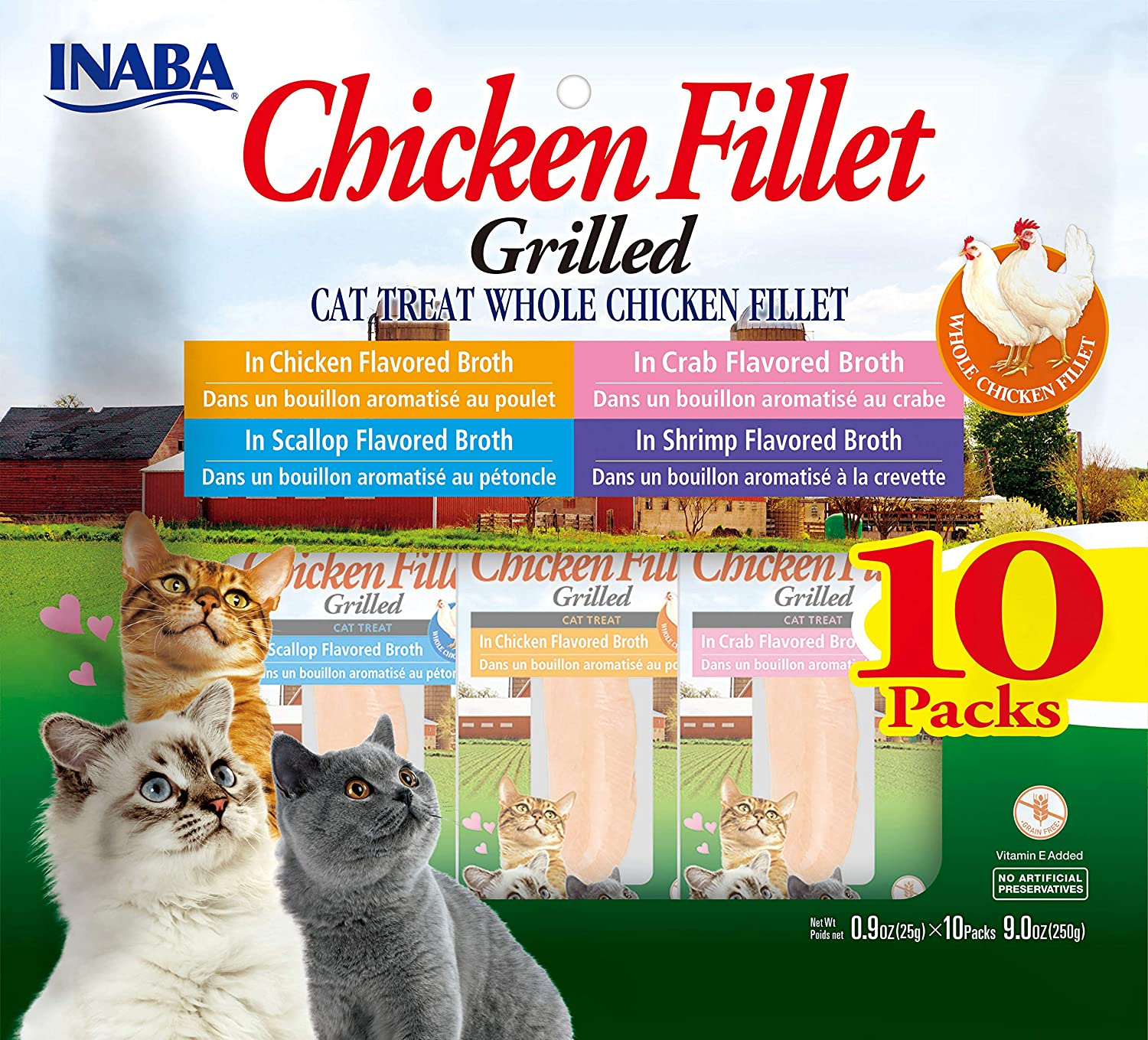 INABA Grilled Chicken Fillets in Savory Seafood Broth Cat Treat 4 Variety 10 Pack