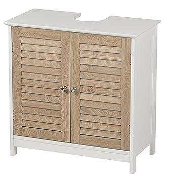 Waschbeckenunterschrank mit 2 Türen Holz/MDF Badschrank Badregal ... | {Waschtisch mit unterschrank holz 71}
