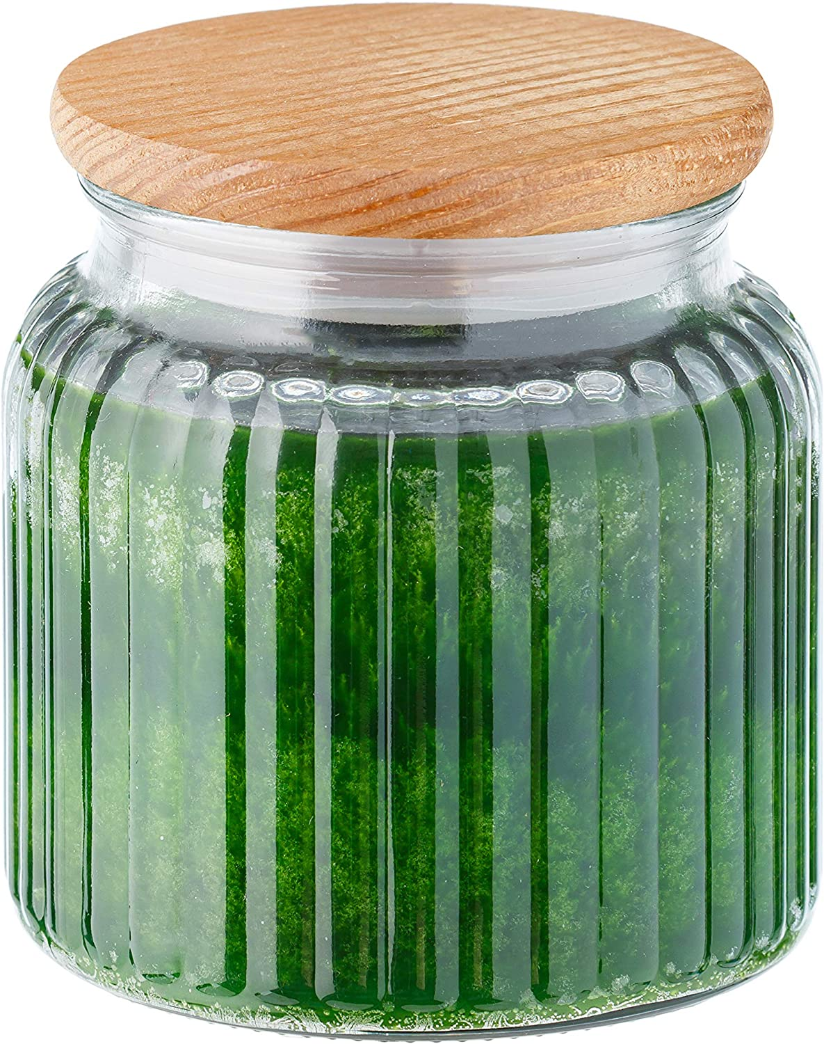 Fresh Lemon Citrus Leaf Olive Blossom Scented Jar Candle | Large 18 Ounce, 120 Hour Burn Time, Double Wick |Home Décor, Glass Jar with Wood Lid | Made in USA