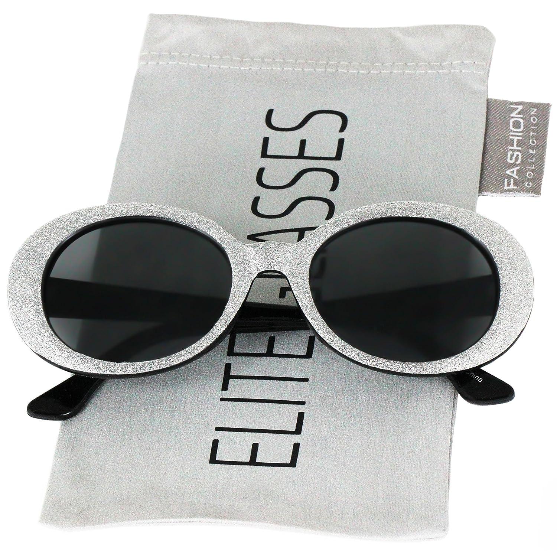 87e2a341108 Amazon.com  Clout Goggles Oval Mod Retro Thick Frame Rapper Hypebeast  Eyewear Supreme Glasses Cool Sunglasses (Black Glitter
